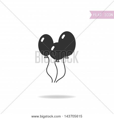Balloons isolated on a white background. Flat black icon. Vector illustration