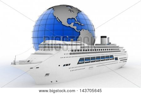 Luxury cruise ship on globe background. 3d render illustration