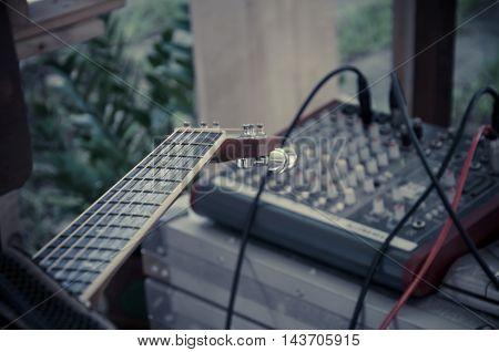 Close up of Fretboard of guitar mixer control