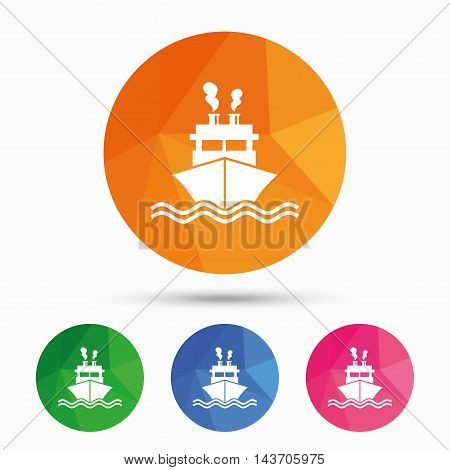 Ship or boat sign icon. Shipping delivery symbol. Smoke from chimneys or pipes. Triangular low poly button with flat icon. Vector