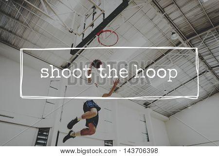 Basketball Jump Shot Reach Hoop Shoot Sport Concept