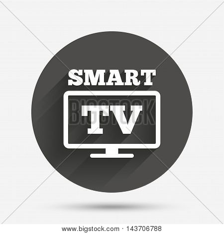 Widescreen Smart TV sign icon. Television set symbol. Circle flat button with shadow. Vector