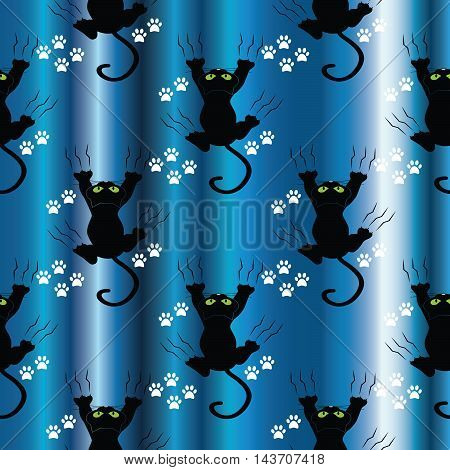 Black cats on the drapery blue background. Modern stylish funny vector seamless pattern with black cats and white tracks on the drapery blue curtain. Luxury magic illustration and royal 3d decor elements with shadow and highlights. Endless elegant  textur