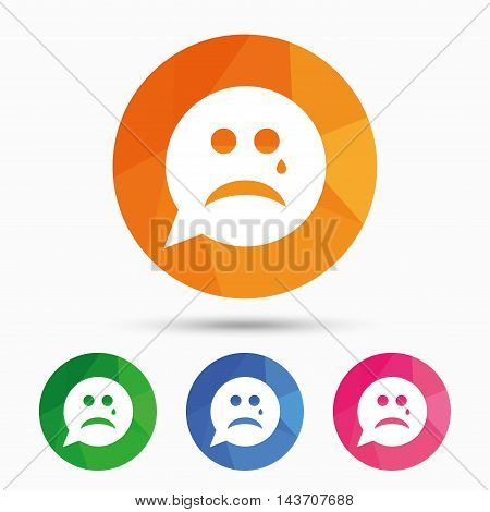 Sad face with tear sign icon. Crying chat symbol. Speech bubble. Triangular low poly button with flat icon. Vector