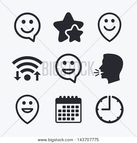 Happy face speech bubble icons. Smile sign. Map pointer symbols. Wifi internet, favorite stars, calendar and clock. Talking head. Vector