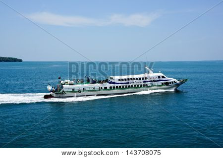 Labuan,Malaysia-Aug 19,2016:A Labuan Express ferry carries passengers from Labuan Island to Kota KInabalu.Its a passenger ferry service operator,tourist attraction & cheaper transportation to Labuan.