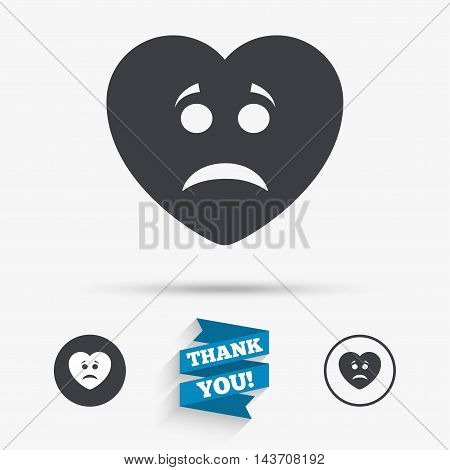 Sad heart face sign icon. Sadness depression chat symbol. Flat icons. Buttons with icons. Thank you ribbon. Vector