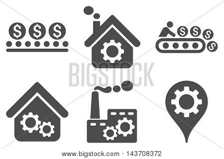 Industrial Production vector icons. Pictogram style is gray flat icons with rounded angles on a white background.