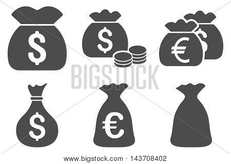 Money Bag vector icons. Pictogram style is gray flat icons with rounded angles on a white background.