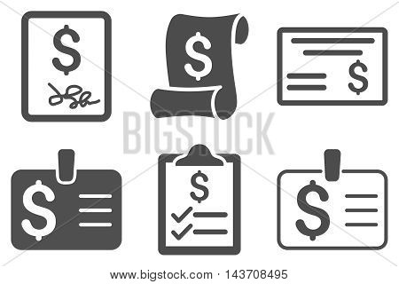 Payment Cheque vector icons. Pictogram style is gray flat icons with rounded angles on a white background.