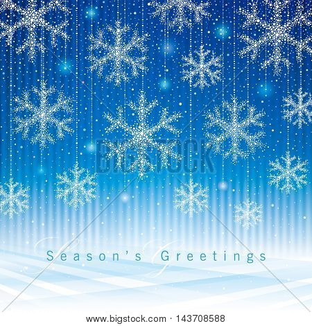 Christmas and New Year snowflakes background.