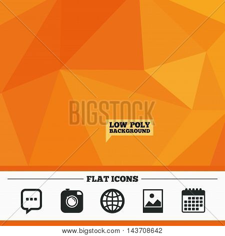 Triangular low poly orange background. Social media icons. Chat speech bubble and world globe symbols. Hipster photo camera sign. Landscape photo frame. Calendar flat icon. Vector