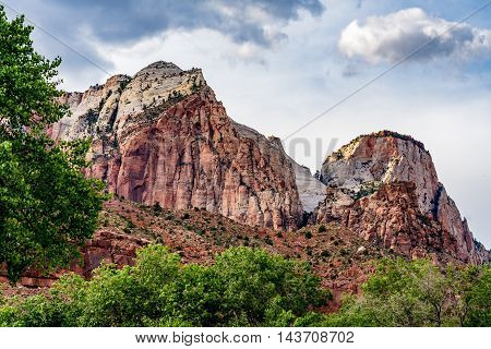 Clouds and Beautiful Rock Formations in Zion National Park Utah.
