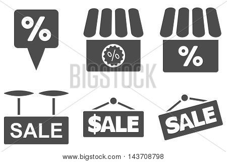 Shop Sale vector icons. Pictogram style is gray flat icons with rounded angles on a white background.