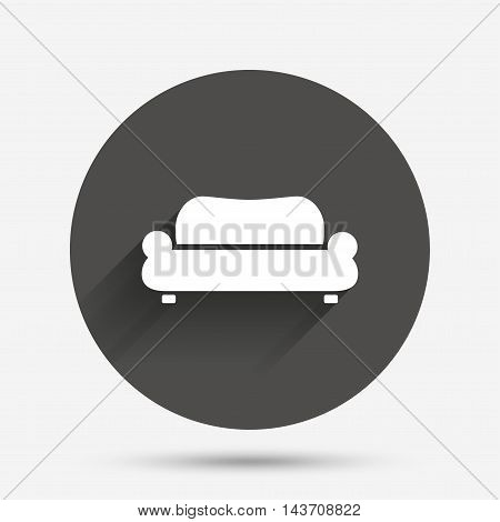 Comfortable sofa sign icon. Modern couch furniture symbol. Circle flat button with shadow. Vector