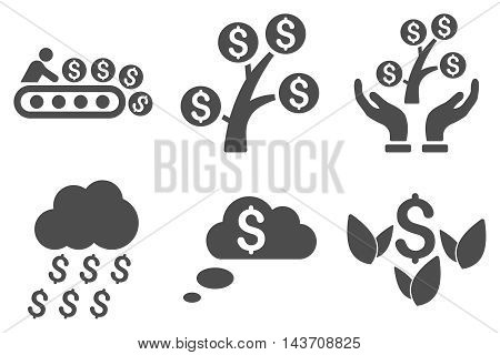 Success Startup vector icons. Pictogram style is gray flat icons with rounded angles on a white background.