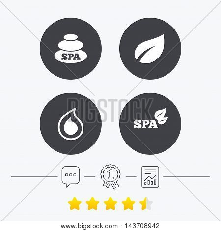 Spa stones icons. Water drop with leaf symbols. Natural tear sign. Chat, award medal and report linear icons. Star vote ranking. Vector