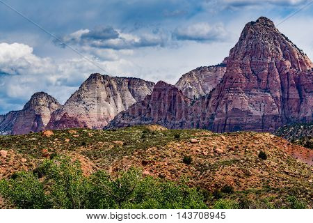 Beautiful Multicolored Sandstone Peaks and Rock Formations in Zion National Park Utah.