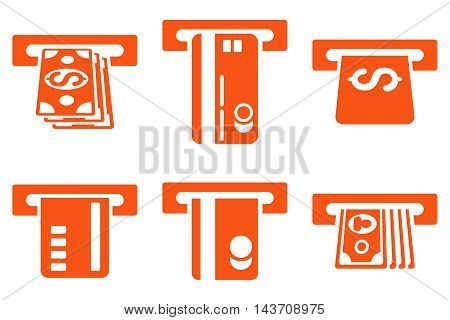 ATM Bank Cashout vector icons. Pictogram style is orange flat icons with rounded angles on a white background.