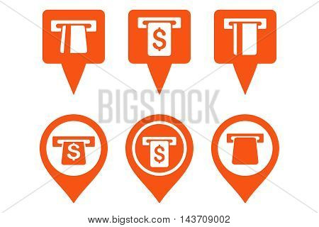 ATM Map Marker vector icons. Pictogram style is orange flat icons with rounded angles on a white background.