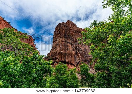 Beautiful Cliffs and Rock Formations with Trees and Clouds in Zion National Park Utah.