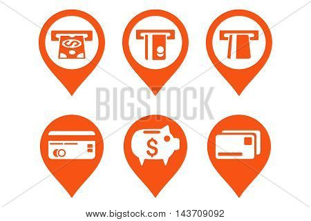 Bank ATM Pointer vector icons. Pictogram style is orange flat icons with rounded angles on a white background.