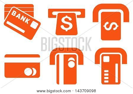 Bank ATM vector icons. Pictogram style is orange flat icons with rounded angles on a white background.