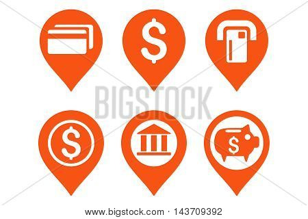 Banking Map Pointer vector icons. Pictogram style is orange flat icons with rounded angles on a white background.