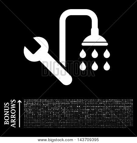 Plumbing icon with 1200 bonus arrow and navigation pictograms. Vector illustration style is flat iconic symbols, white color, black background.