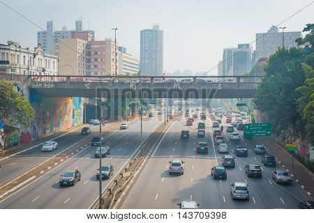 Sao Paulo - MAY 07 2016: Bairro da Liberdade famous district oriental located in the city of São Paulo view of Radial Leste Japanese and other Asian immigrants reside.