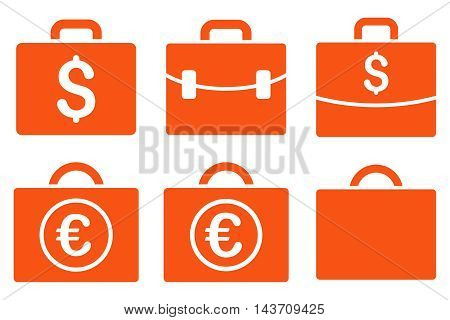 Business Case vector icons. Pictogram style is orange flat icons with rounded angles on a white background.