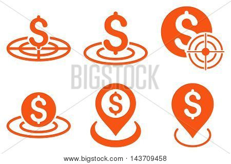 Business Target vector icons. Pictogram style is orange flat icons with rounded angles on a white background.