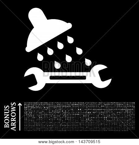 Shower Plumbing icon with 1200 bonus arrow and direction pictograms. Vector illustration style is flat iconic symbols, white color, black background.