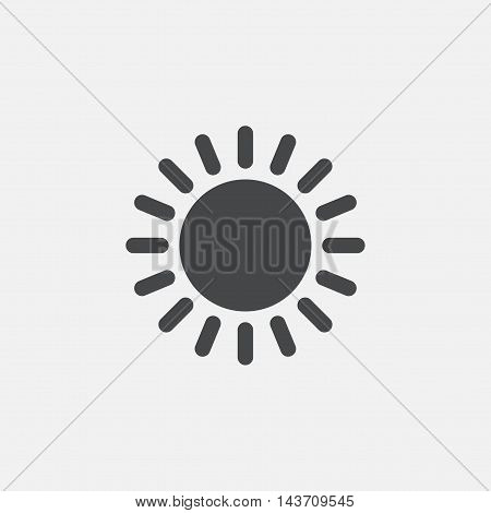 Sun icon. Sunlight summer symbol. Hot weather sign. Flat icon on white background. Vector