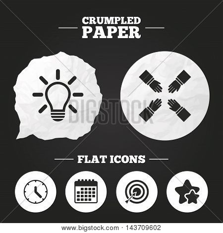 Crumpled paper speech bubble. Lamp idea and clock time icons. Target aim sign. Darts board with arrow. Teamwork symbol. Paper button. Vector