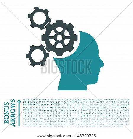 Brain Mechanics icon with 1200 bonus arrow and navigation pictograms. Vector illustration style is flat iconic bicolor symbols, soft blue colors, white background.
