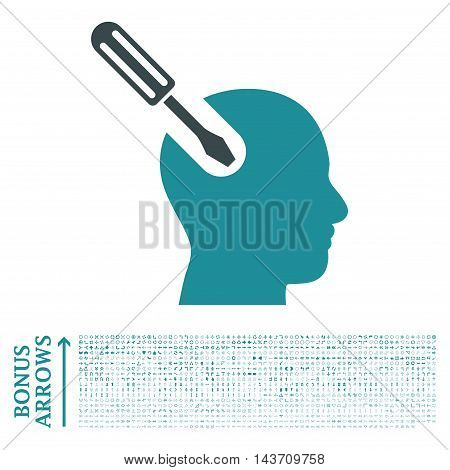 Brain Tool icon with 1200 bonus arrow and direction pictograms. Vector illustration style is flat iconic bicolor symbols, soft blue colors, white background.