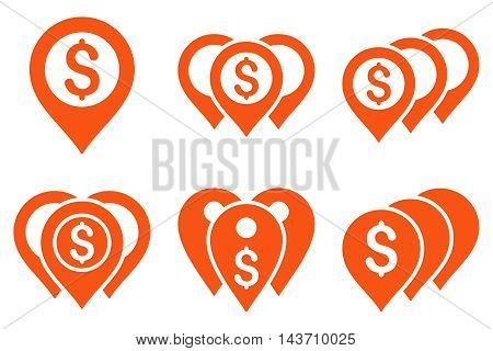 Money Map Markers vector icons. Pictogram style is orange flat icons with rounded angles on a white background.