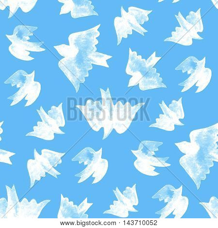 Watercolor white birds seamless pattern on blue background.
