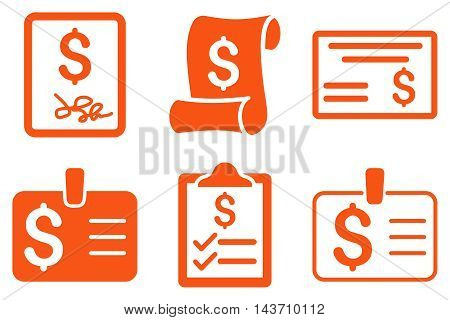 Payment Cheque vector icons. Pictogram style is orange flat icons with rounded angles on a white background.