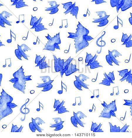 Bird seamless pattern spring background with singing birds