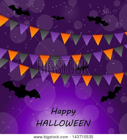 Illustration Halloween Background with Buntings and Bats - vector