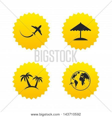 Travel trip icon. Airplane, world globe symbols. Palm tree and Beach umbrella signs. Yellow stars labels with flat icons. Vector
