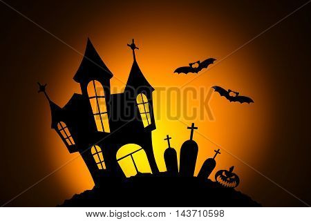 Celebrating halloween, pumpkins for Halloween, silhouetted against the moon, bat silhouette, silhouette of the cemetery, silhouette of the castle