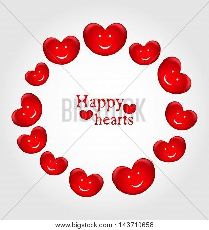 Illustration round frame made in smiling hearts for Valentines Day - vector