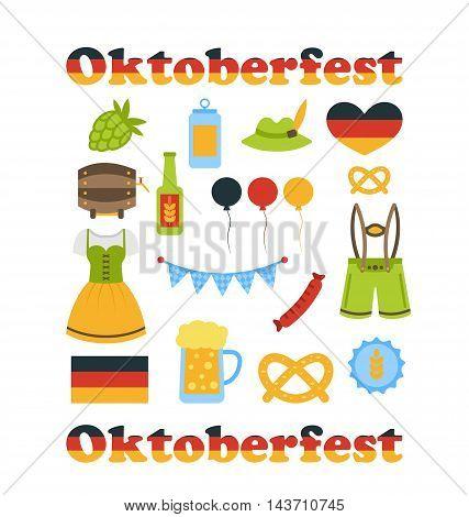 Illustration Oktoberfest Colorful Symbols Isolated on White Background - Vector