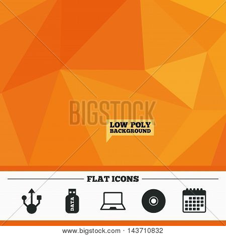 Triangular low poly orange background. Usb flash drive icons. Notebook or Laptop pc symbols. CD or DVD sign. Compact disc. Calendar flat icon. Vector