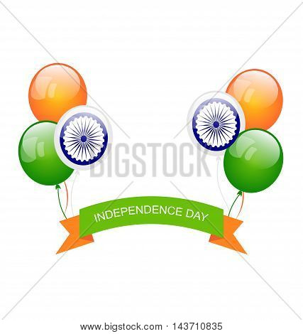 Illustration Balloons in Traditional Tricolor of Indian Flag for Independence Day - Vector