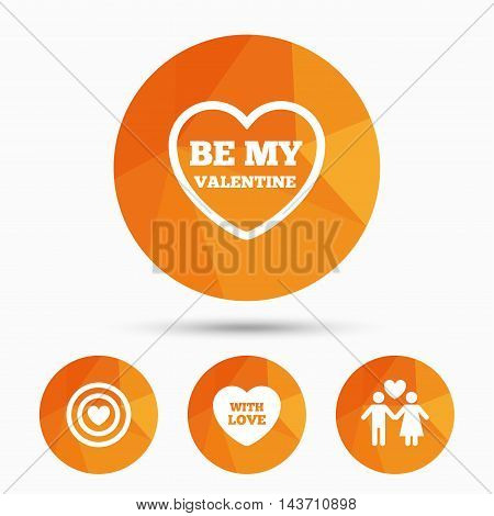 Valentine day love icons. Target aim with heart symbol. Couple lovers sign. Triangular low poly buttons with shadow. Vector