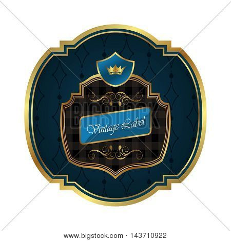 Illustration golden frame label with crown isolated - vector